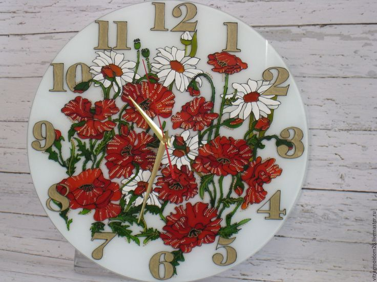 Купить Часы настенные 40см Луговые цветы - комбинированный, часы настенные, часы интерьерные