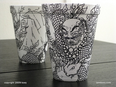 Styrofoam Cup Art - i ALWAYS do styrofoam art on plates too & to-go containers lol