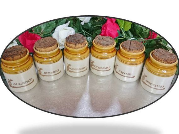 VINTAGE BENDIGO POTTERY Spice Herb Jars with by PenelainAntiques, $120.00