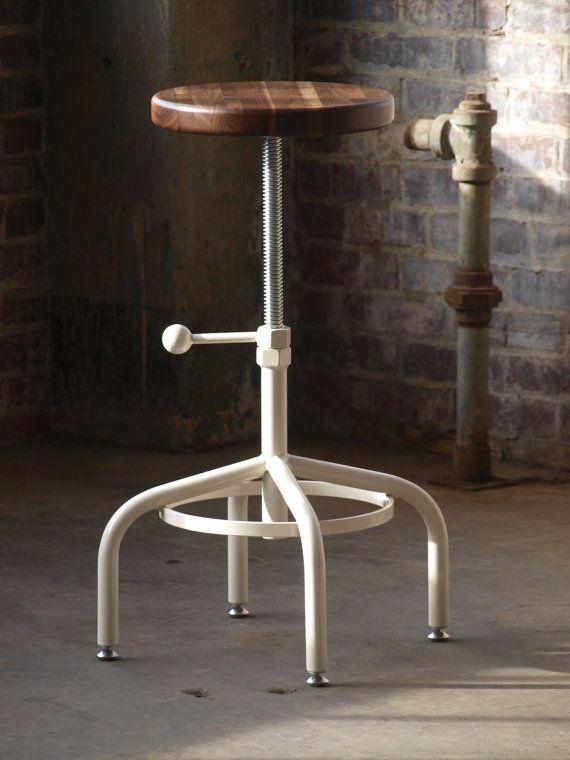 Industrial taburete nogal taladro Taburete ajustable con base