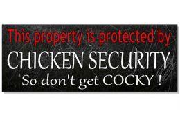 FUNNY CHICKEN SECURITY Warning Plaque Sign house front wall door hen coop eggs