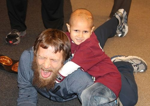 "Daniel Bryan taps out to a kid battling cancer: December 18, 2012  Daniel Bryan is a good man. I know wrestlers granting wishes isn't anything new (I've actually witnessed John Cena granting wishes for Make-A-Wish kids). But seeing 7-year-old Connor Michalek, who is battling cancer of the brain and spine, putting D-Bry in the No Lock is heartwarming.  This is just the best (from the WPIX.com story):  ""Where's the Stone Crusher (a nickname Connor gave himself)?"" Daniel asked as he walked"