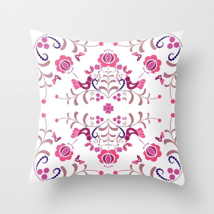 Hungarian folk art Throw Pillow