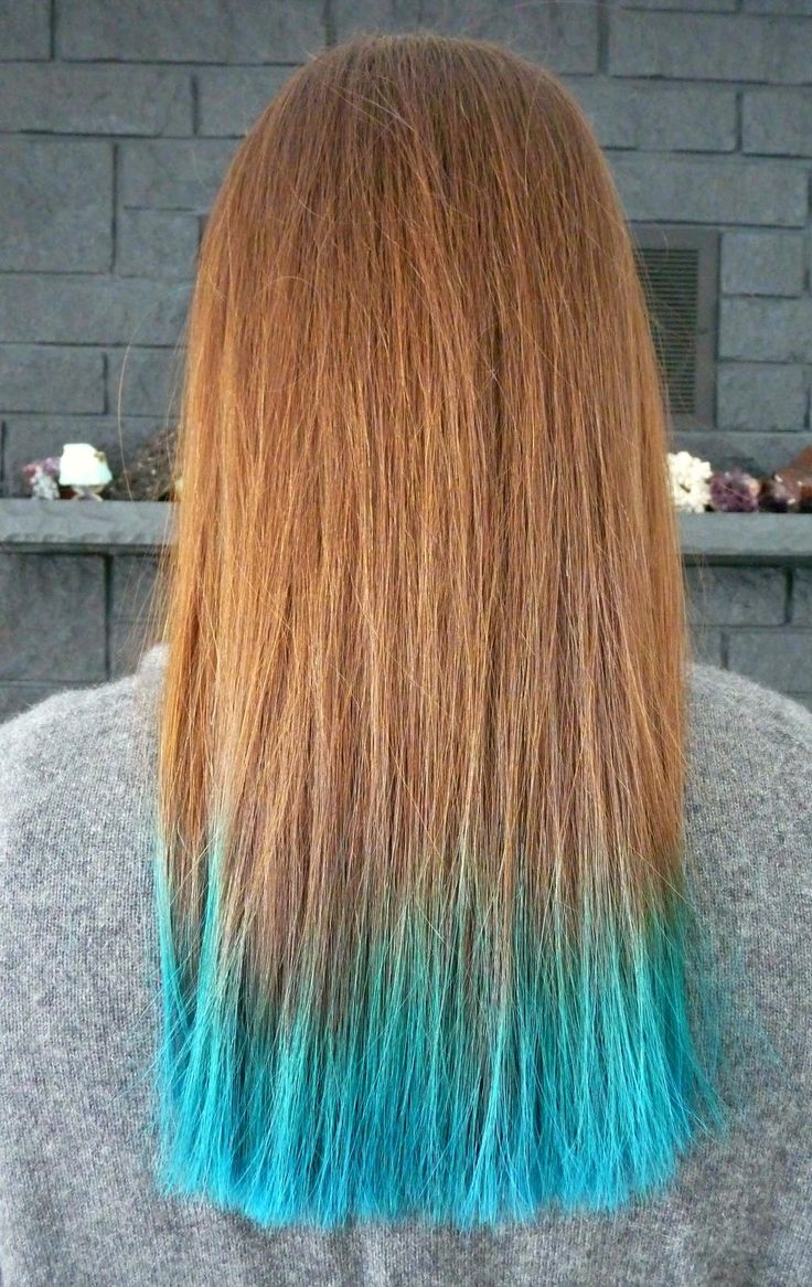 Manic Panic Turquoise Dye on Bleached Ends with Brunette Hair