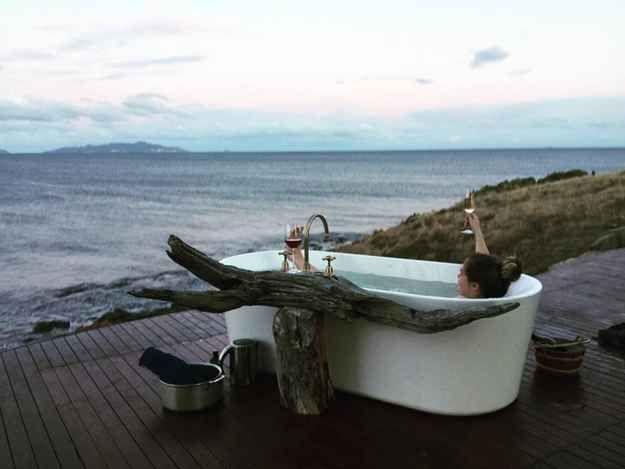 Take a soak in the world's most scenic bathtub.