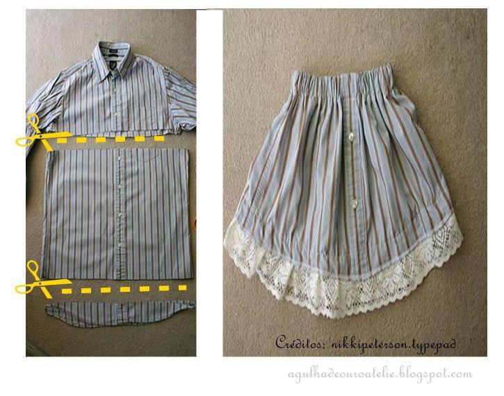 Agulha de ouro Ateliê: ✂De camisa social masculina por uma peça 2 em 1 : saia ou…                                                                                                                                                                                 Mais