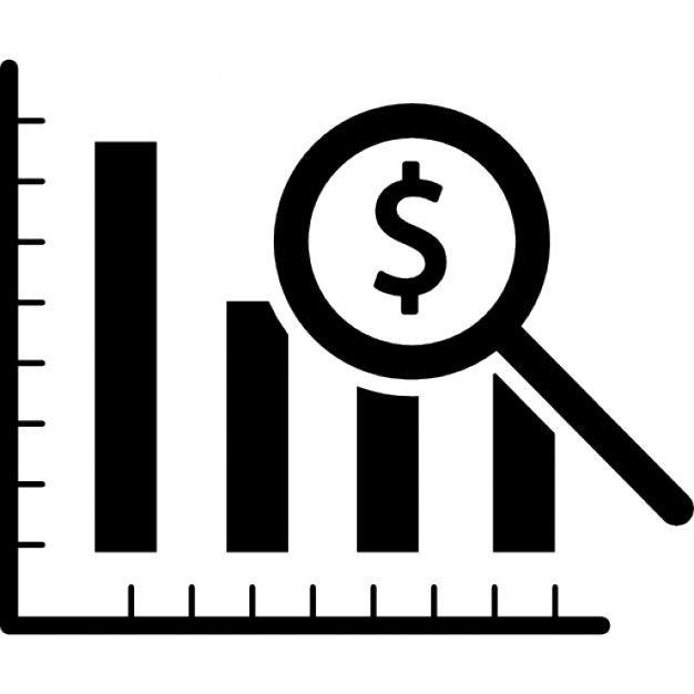 Dollar analysis bars chart Free Icon