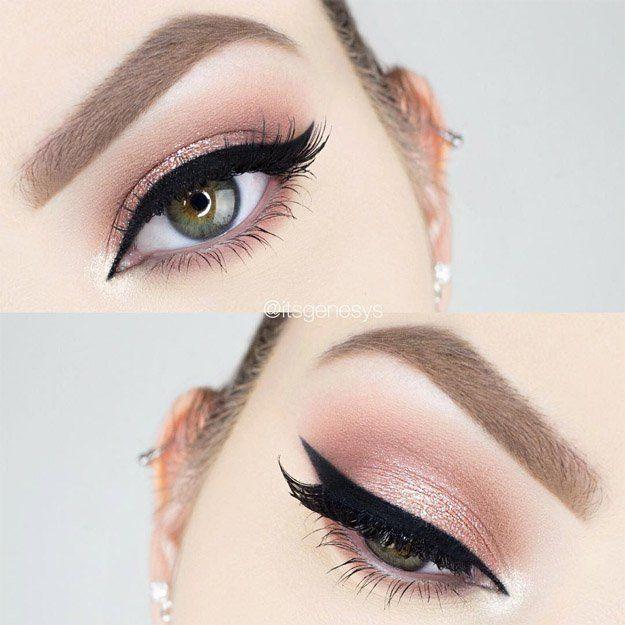 Simple Glitter Rose Gold Makeup | Delineado Gatinho Dourado Ouro Rosa