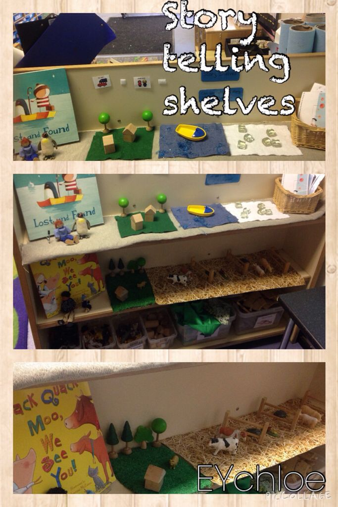 New story telling shelves my classroom this week.  Used lost and found and quack, quack, moo we see you as the books.  Props, scenery and sequencing cards for children to retell the stories.  EYchloe