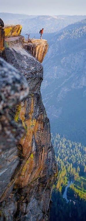 Yosemite National Park ~ northeast California, we saw a guy free climbing, almost every, like waiting for him to fall... Gasps every time he 'slipped'!