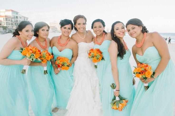 Aqua + Tangerine Wedding in Cancun - BeachBride.com