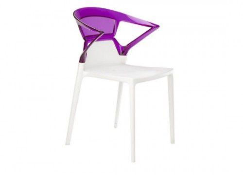 Καρέκλα πολυκαρμπονική λευκό-μωβ