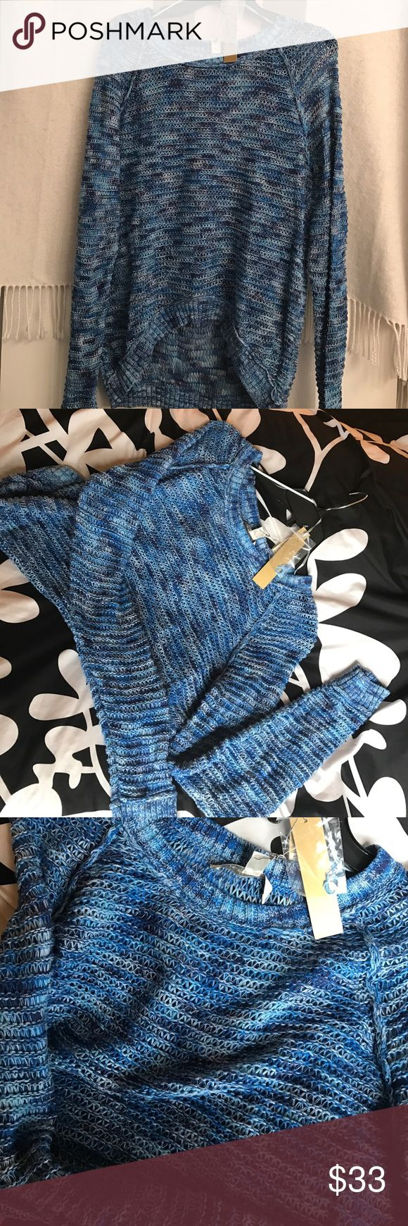 Multi Blue Open Weave Sweater Multiple hues of blue in this lightweight open weave sweater with hi-lo hem...perfect with a tank and jeans...tags on, never worn! LC Lauren Conrad Sweaters Crew & Scoop Necks
