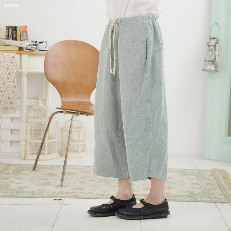 今年から始まるアイキャッチカジュアル。動き易さも好評のお洒落。【完売御礼】【035039】 7分丈 リネン スパンツ 【 スカンツ スカーチョ スパンツ 】 【 10P29Jul16 】 Mycloset マイクローゼット 森ガール 大きいサイズ 大人カジュアル ナチュラル ゆったり シンプル 授乳服 30代 40代 50代 ファッション レディース 服