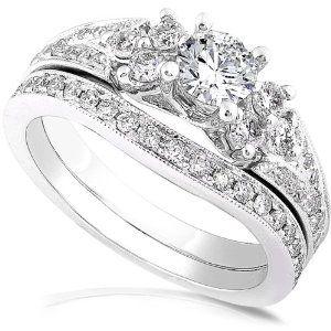 1.00ctw Round Brilliant Diamond Wedding Ring Set in 14Kt White Gold