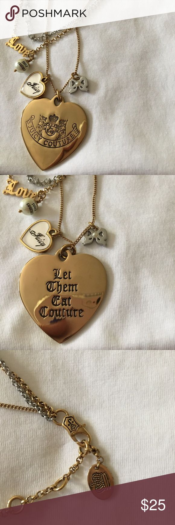 Juicy Couture let them eat couture necklace Juicy Couture charm necklace. Gold/silver details. Barely worn Juicy Couture Jewelry Necklaces