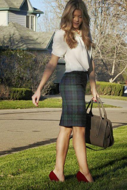 JCREW Plaid Skirt - just add flats to make it teacher friendly!
