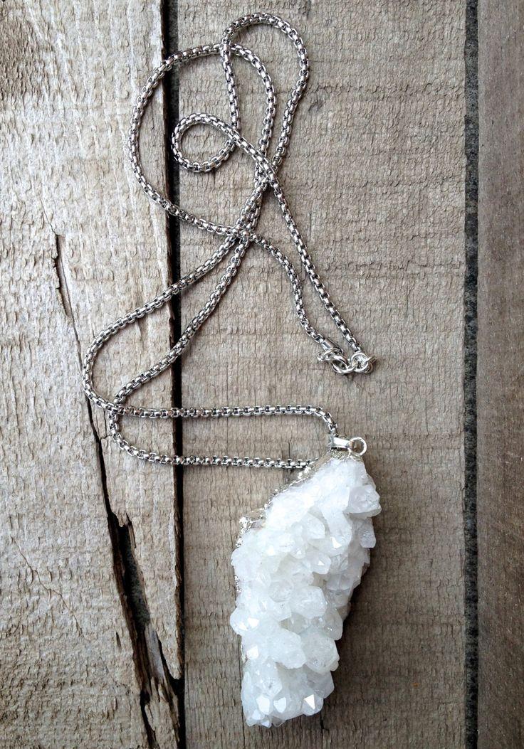 Large Chunky Raw White Quartz Crystal Druzy Necklace by GildedBug on Etsy