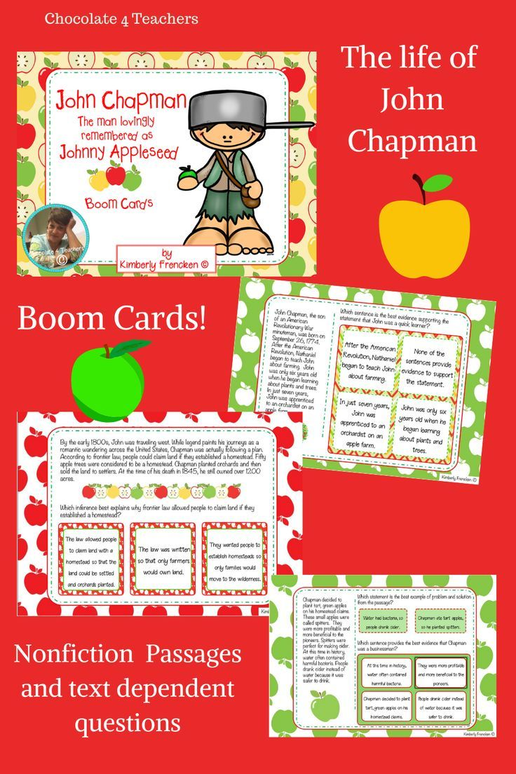 Boom Cards The True Story Of John Chapman Remembered As Johnny Appleseed Reading Comprehension Reading Intervention Busy Teacher [ 1104 x 736 Pixel ]
