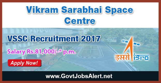 VSSC Recruitment 2017 - Hiring Radiographer-A and Technician-B Posts, Salary Rs.81,100/- : Apply Now !!!  The Vikram Sarabhai Space Centre – VSSC Recruitment 2017 has released an official employment notification inviting interested and eligible candidates to apply for the positions of Radiographer-A and Technician-B in Electronic Mechanic, Fitter, Chemical Operator (Maintenance Mechanic), Chemical Operator (Attendant Operator) Electrician and Turner.