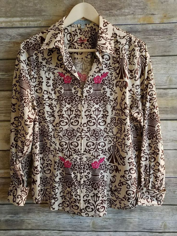 Foxcroft Wrinkle Free Fitted Blouse Jacket Shirt Pink Floral Lightweight Size 14   Clothing, Shoes & Accessories, Women's Clothing, Tops & Blouses   eBay!