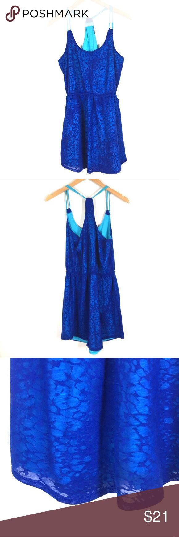EXPRESS Dress👗 This lightweight blue burnout sundress is great for any season with an elastic waist and racer back.  1st 3 pics are stock photos, last 2 are actual item. GUC Express Dresses Mini