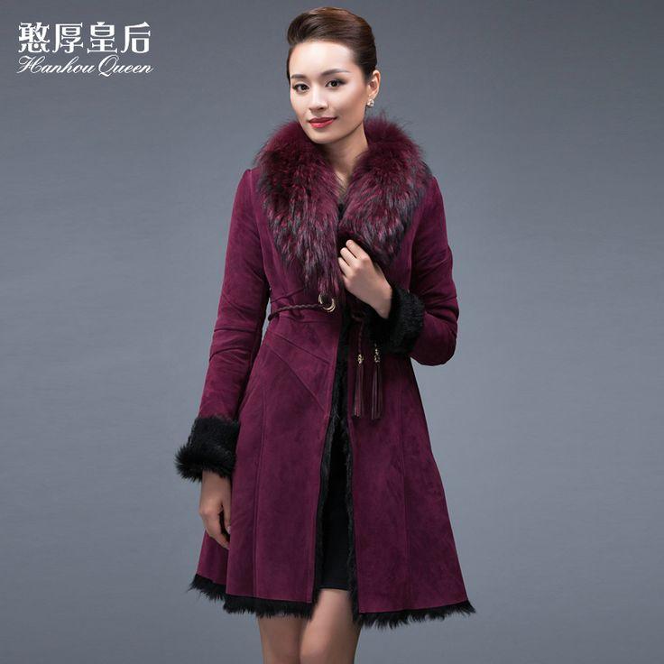 Зима Новая Мода 100% Подлинная кожаная куртка, Тонкий овчины шуба енот меховой воротник кожаные пальто Бесплатная доставка FQ031