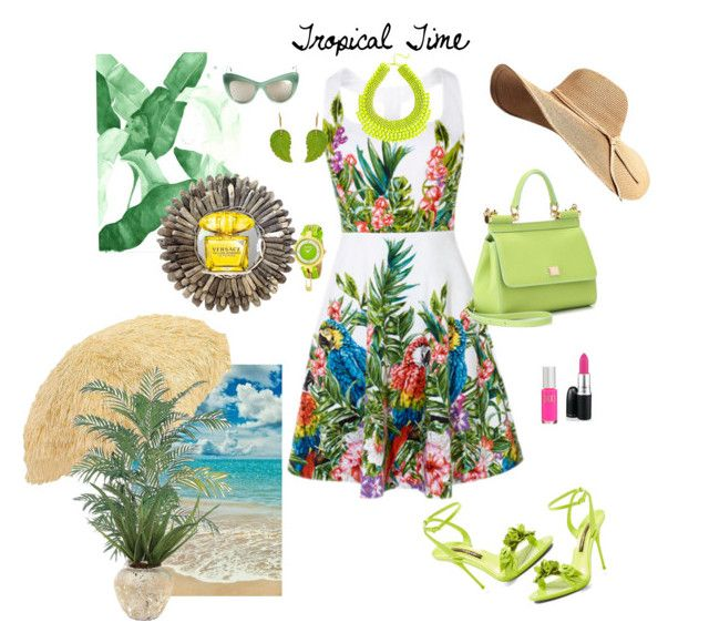 """""""Tropical Dinner party outfit"""" by deborah-518 ❤ liked on Polyvore featuring Parasol, STELLA McCARTNEY, Dolce&Gabbana, Versus, Versace, Nearly Natural, John-Richard and Sophia Webster"""