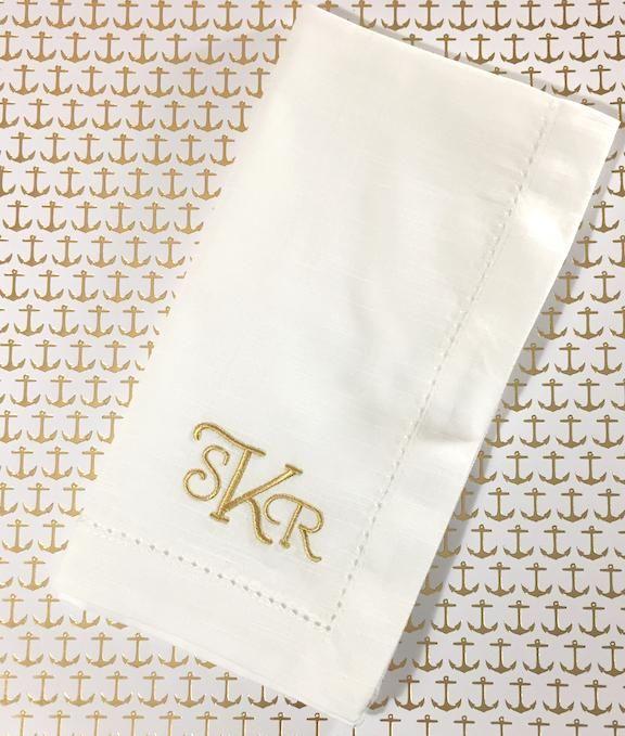 Sienna Monogrammed Cloth Dinner Napkins - Set of 4 napkins – White Tulip Embroidery