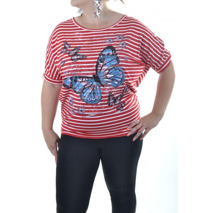 Dámske tričko s motýľom - červeno-biely pásik