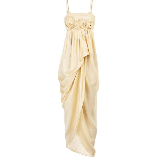 Roksanda Ilincic Corsage-embellished silk gown (8.540 BRL) ❤ liked on Polyvore featuring dresses, gowns, vestidos, long dress, beige long dress, silk evening dresses, pleated dress, long dresses and draped gown