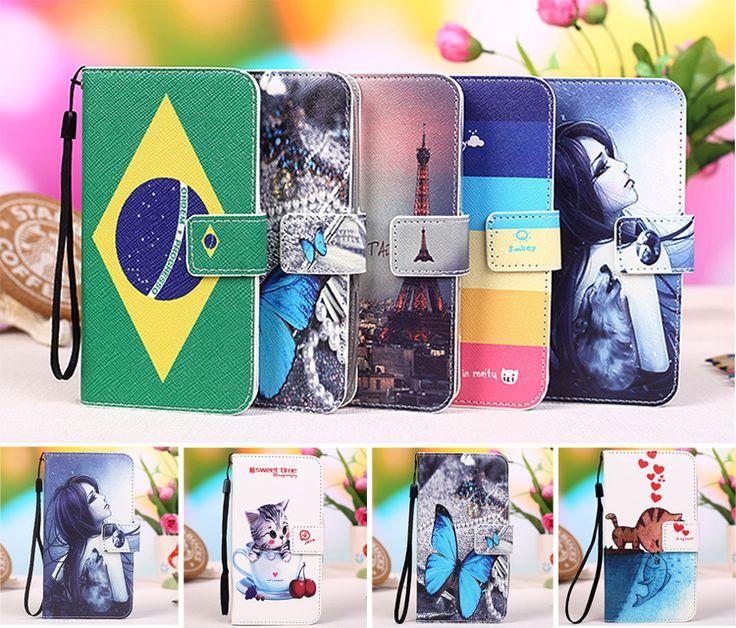 Multi colors Cartoon Printing Flip PU Leather Phone Wallet Case For BQ Aquaris U Lite Mobile Phone case cover +Tracking Number