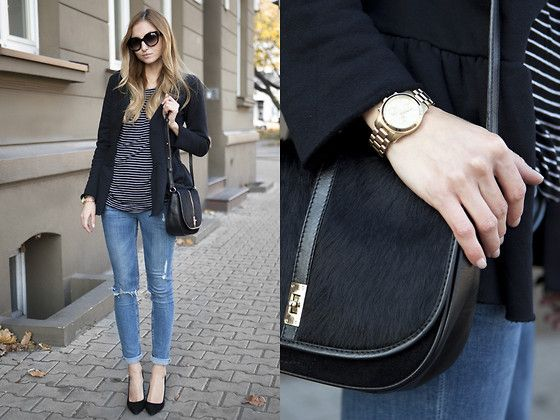 Purificacion Garcia Bag, Pepe Jeans Pumps, Michael Kors Watch, Prada Sunglasses