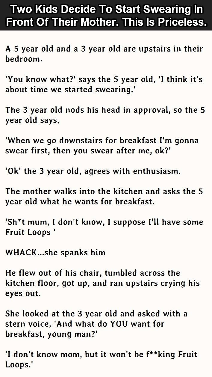 Two Kids Decide To Start Swearing In Front Of Their Mother This Is Priceless funny jokes story lol funny quote funny quotes funny sayings joke humor stories funny kids funny jokes