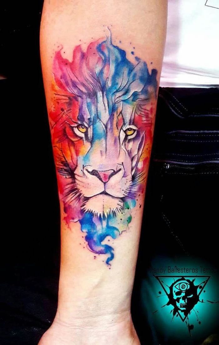 Colorful Watercolor Lion Tattoo Lion Head In Different Colors Forearm Tattoo Blue Purple Pink Red G In 2020 Watercolor Lion Tattoo Colorful Lion Tattoo Watercolor Lion