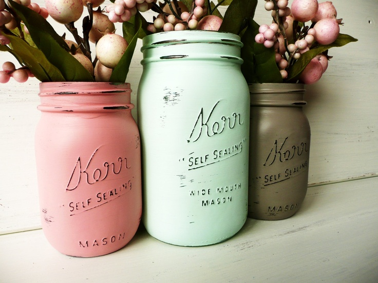 Spring Home and Wedding Decor - Painted and Distressed Mason Jars - Vase - Mint, coral and dark taupe