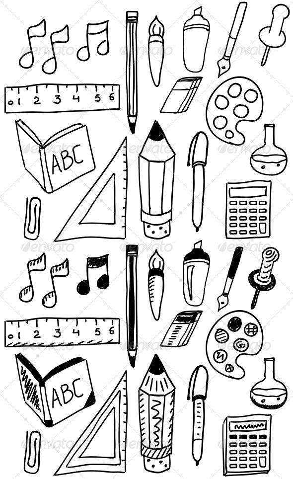 Hand Drawn Back to School Doodle Set