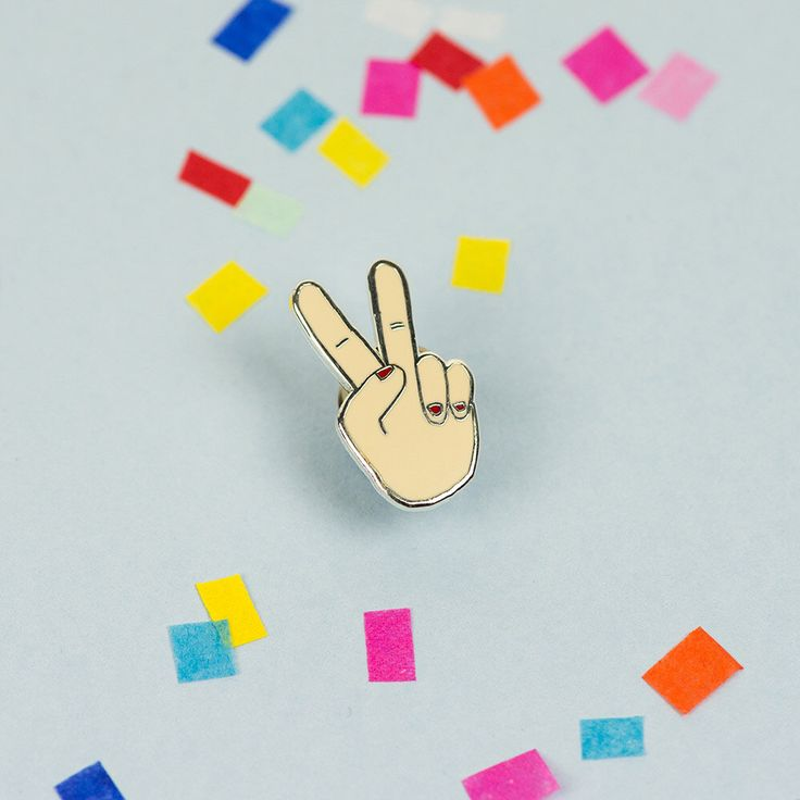 Peace Fingers hard Enamel Pin with clutch back // Hand Illustration, Pin Game, Punky Pins by Punkypins on Etsy https://www.etsy.com/listing/259706957/peace-fingers-hard-enamel-pin-with