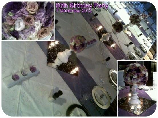 BIRTHDAY PARTY 8 December 2012 Colour : white, silver, various purples Theme : elegant