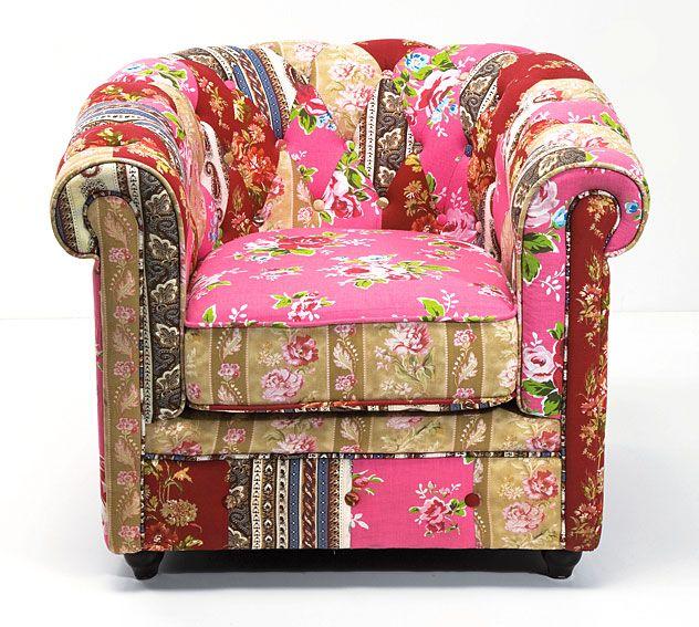 Muebles Portobellostreet.es:  Sillon Chester Capitone Patchwork Calido - Butacas Vintage - Muebles Vintage