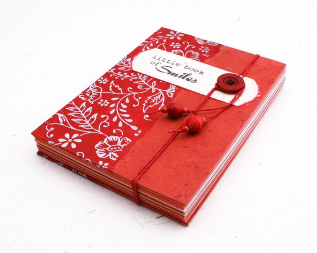 Little Book of Smiles coptic bound memory journal with 100% recycled pages