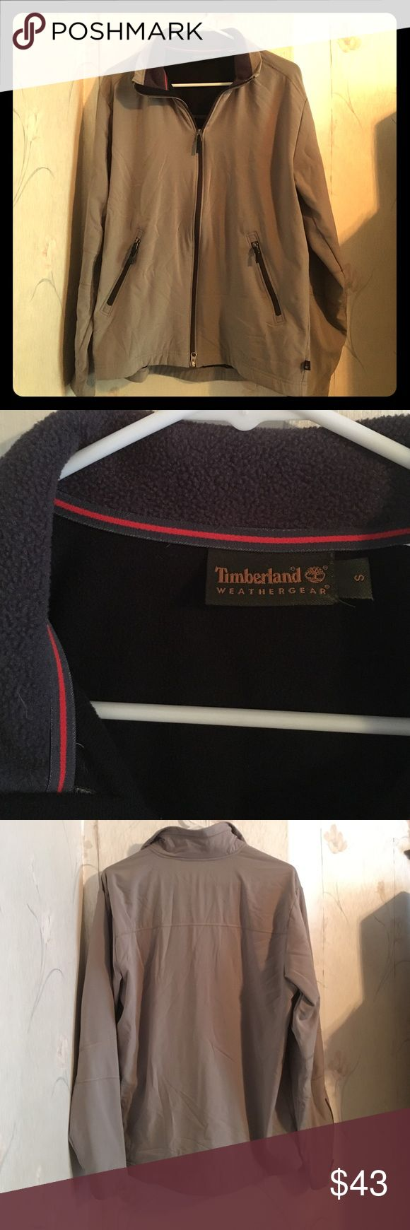 Timberland fleece lined jacket Men's Timberland fleece lined, zip up jacket, size small. Khaki colored weather proof outer layer with a black fleece lining. Excellent condition. Timberland Jackets & Coats