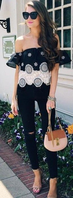 Black And White Bardot Top + Black Jeans                                                                             Source