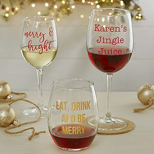 "HA! These Personalized Christmas Wine Glasses - are so funny and cute! You can choose any glass style and personalize it with any 3 lines - in your choice of 13 colors and 3 font styles! LOVE this because you can have them say whatever you want! Great Christmas gift idea for wine lovers or just for all your fun girlfriends! love the ""Jingle Juice"" idea!"