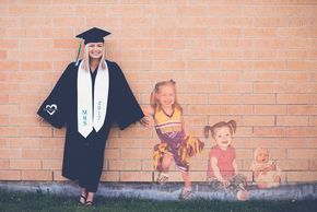 Senior cap and gown with baby pictures, senior girl against brick wall, senior g…