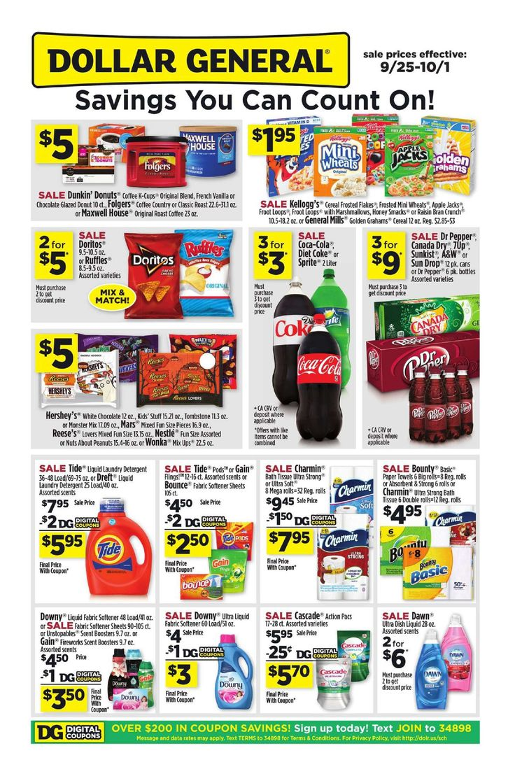 Dollar General Weekly Ad September 25 - October 1, 2016 - http://www.olcatalog.com/grocery/dollar-general-weekly-ad.html