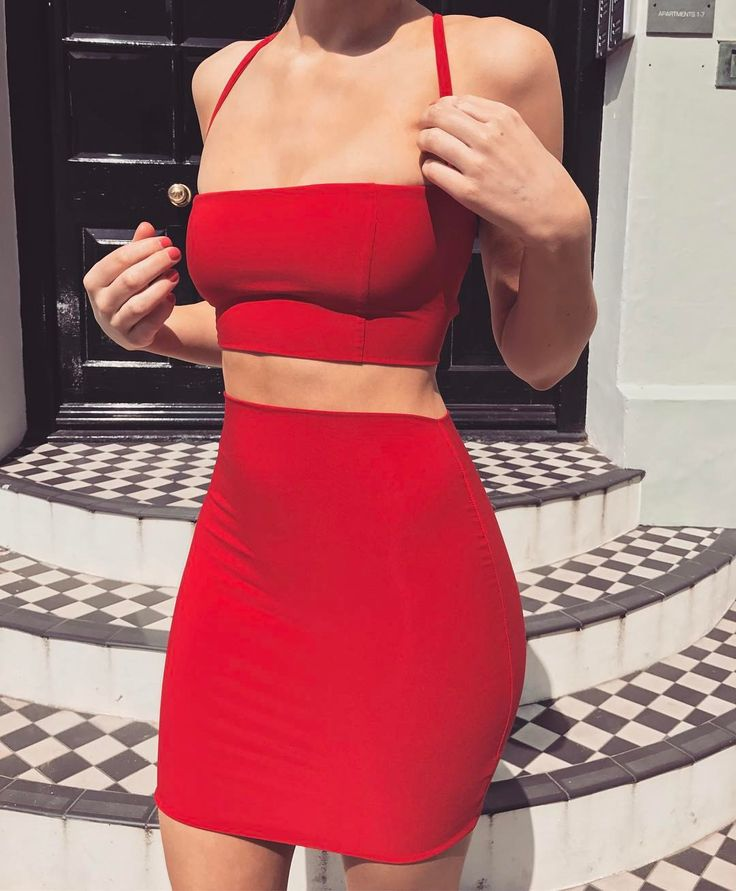 innovative red two piece outfit dresses