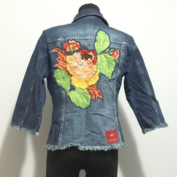 I just discovered this while shopping on Poshmark: Jean Darrot Sequin Embellished Frayed Jean Jacket. Check it out! Price: $49 Size: 6, listed by opthread