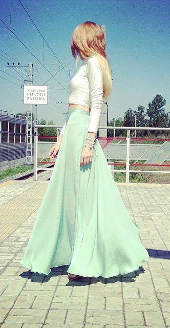 minty green maxi skirt