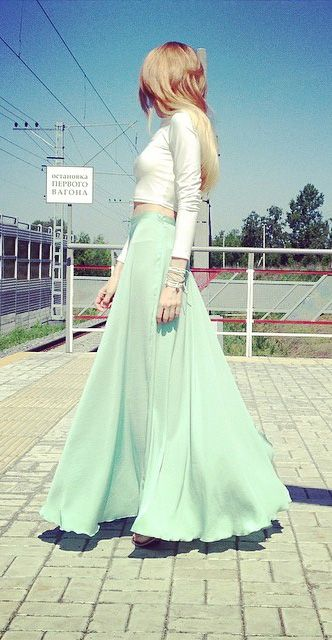 minty green maxi skirt